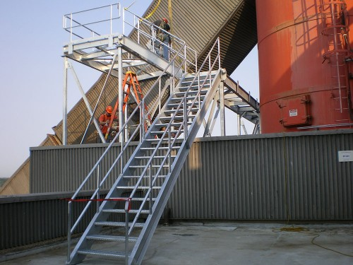Engineered and fabricated platform and stairs